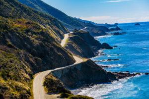 Highway 1 winding down the California coastline